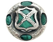Silver & Malachite Celtic Shield Pin