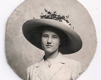 Old Photo Portrait of Woman Wearing Hat Early 1900s Photograph snapshot Vintage
