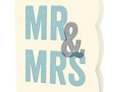 Blocky Mr & Mrs Letterpress Wedding Congratulations Card • LP727