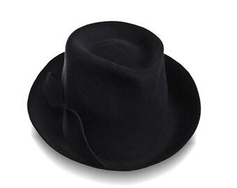 Black Fedora Hat , Womens Felt Fedora Hat , Wide Brim Felt  Hat , Women black felt hat