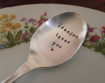 Grandma Loves You   Hand Stamped Personalized Vintage Childs silver spoon