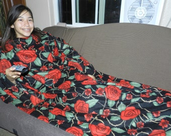 Big Red Roses Fleece Snuggie