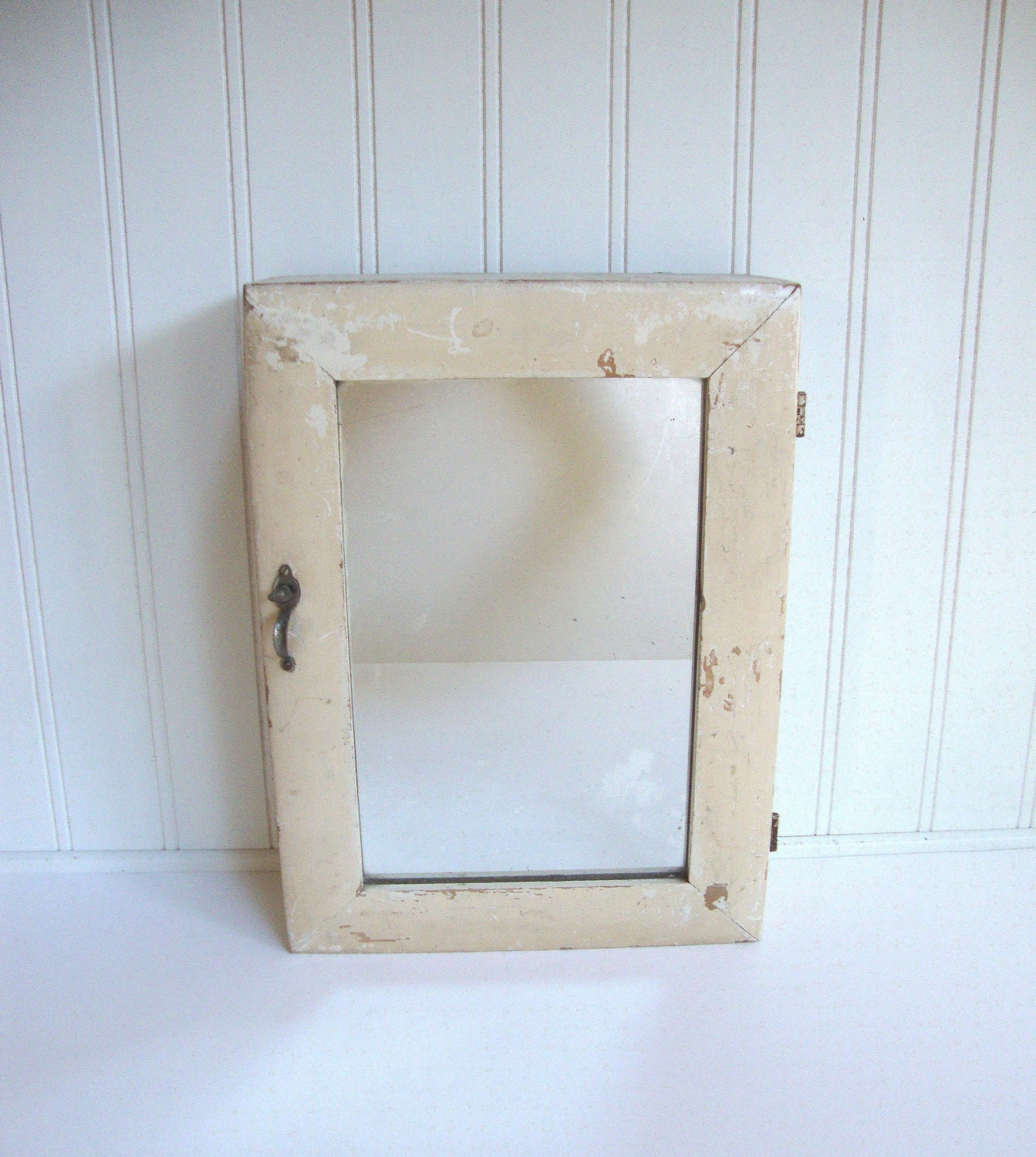 Vintage Medicine Cabinet Mirror Bathroom Wood White