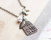 Birdcage necklace, flying bird floral flower garden leaf vintage victorian style jewelry for her