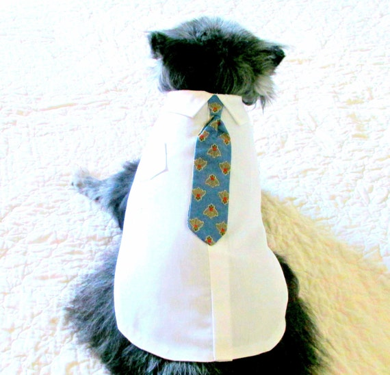 "Small Dog's ""Executive"" Dress Shirt & Blue Tie Made to Order Pet Clothes Chihuahua Size"
