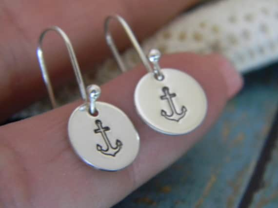 Anchor Earrings, Sterling Silver Custom Made Hand Stamped Personalized Dangle Earrings, Nautical Design Adult or Child Boat Anchor Ear Set