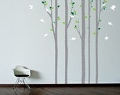 Wall Stencil. Tree with birds Wall Decal. Wall Wall stencil. Painting mask. Birch trees