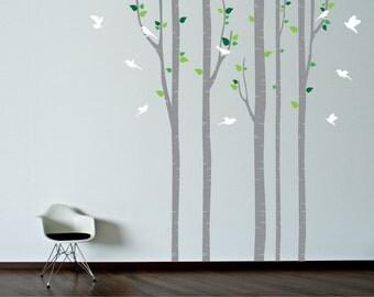 Stencil muro. Albero con uccelli, voliera e nome parete Stencil ...