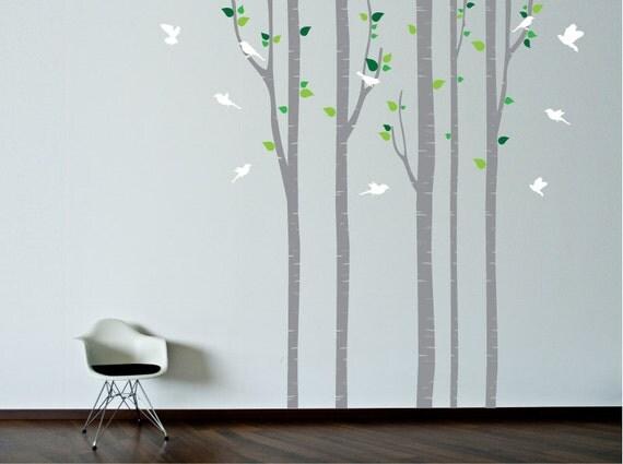 Parete stencil. albero con uccelli wall decal. di decoryourwall