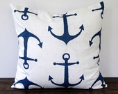 "Premier Navy Anchors pillow cover One 16"" x 16"" cushion covers navy blue and white throw pillow covers nautical beach decor - ThePillowPeople"