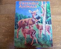 Vintage Friendly Animals Coloring Book by Saalfield.Uncolored.Deer.Woods Animals.Vintage Coloring Book. Vintage Childrens Book. Old Books.