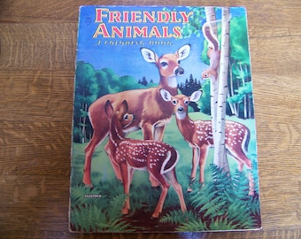 Vintage Friendly Animals Coloring Book by Saalfield.Uncolored.Deer.Woods Animals.Vintage Coloring Book. Vintage Childrens Book. Old Books.