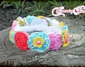 Birthday Crown, Fabric Flower Crown, Flower Tiara, Baby Girl Floral Head Piece, Coral, Aqua, Yellow Flower Crown, Halo, Flower Girl Crown