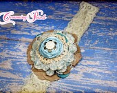 Aqua, Tan Hair Accessory, Fabric Flower Headband, Turquoise, Beige Girls Hair Bow, Ivory, Cream Fabric Flower Brooch, Hair Clip, Hair Piece