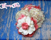 Coral, Ivory Hair Accessory, Coral Flower Headband, Cream, Coral Hair Bow, Hairbow, Baby Girl Headband, Fabric Flowers, Hair Accessories