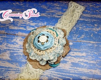 Aqua, Tan Hair Accessory, Fabric Flower Headband, Turquoise, Beige Girls Hair Bow, Ivory, Cream Fabric Flower Brooch, Hair Clip, Hair Piece