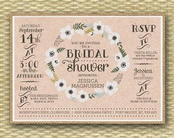 Rustic Burlap Bridal Shower Invitation Floral Wreath Floral Bridal Shower Invite Typography, Any Event