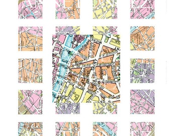 Printable Vintage Paris Map 1 inch square images 1 inch ssquare Digital Collage Sheet 1 inch square digital images Printable map