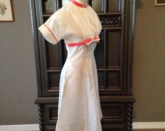 White With Pink Velvet Ribbon Detail 50s Dress