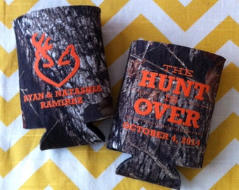 Camo Wedding can coolers, The Hunt is Over mossy oak camo wedding favors, Country can coolers, Camo wedding favor (250 qty).