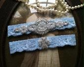 SALE-Wedding Garter-Light Blue Lace Garter Set- Rhinestone Garter - Applique Garter - Vintage - Bridal Garter - Vintage Garter - Toss Garter