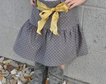Ruffle Gray Corduroy Skirt with Mustard Belt and Mustard Polkadots