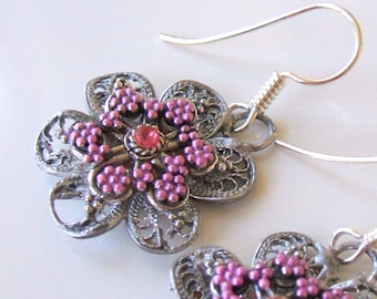 Recycled vintage wirework earrings - Pink floral motif earrings
