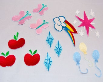 4 Inch My Little Pony Friendship is Magic Cutie Mark  Fully Embroidered Iron On Patch for Cosplay and Accessories