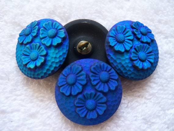 Czech  Glass Buttons  4 pcs  gorgeous MATE   22mm      IVA 168