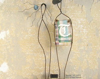 ON SALE Wire Sculpture Metal and Driftwood Mixed Media Folk Art