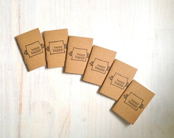 Tiny Journals: Notebooks, Happy Happy, Cute, Brown, Kids, Brown, Favors, Small Notebooks, Unique, Gift, Stocking Stuffer, For Him, For Her