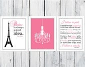 Paris is Always A Good Idea and I Love Pink set - 3 Prints - Audrey Hepburn Quote - Dorm Decor