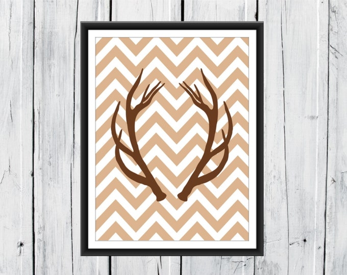 Deer Antlers - Hunting Lodge Decor - Chevron Background - Antler Print