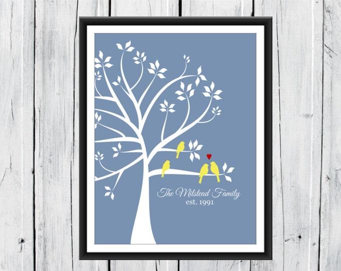 Wedding Tree Love Birds Print - Custom Sizes and Colors