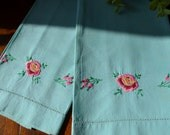 Vintage Embroidered Guest Towel Turquoise Red Pink Roses, Set of Two  3351