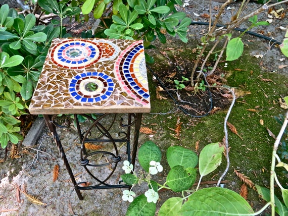 Small Mosaic Side Table By CareWare On Etsy