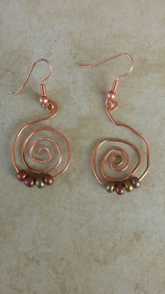 Copper Spiral Earrings by GoddessDay
