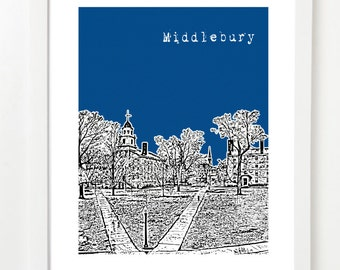 Middlebury Poster - Middlebury Vermont City Skyline Series Art Print - Middlebury Gifts