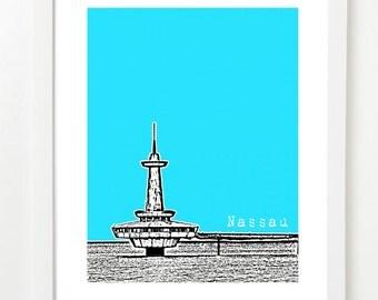 Nassau, Bahamas Skyline Poster - Nassau City Skyline Series Art Print - Bahamas Anniversary Gift