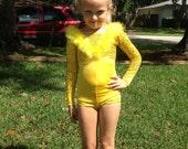 Adorable bright yellow childrens bodysuit/leotard