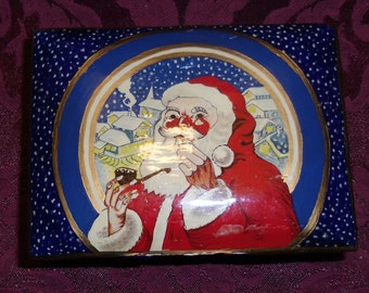 Vintage Christmas Ornament - Handmade Santa Claus Box, Kashmir, India, Handpainted, Lacquered Wood Box, Signed 1985