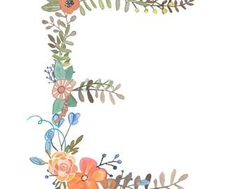 "E - Floral 8"" x 10"" Print"
