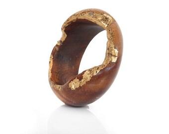 Wood Bracelet Indian Rosewood and Gold Leaf -Golden Opportunity