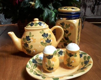 Six Piece Tray Teapot Canister Set