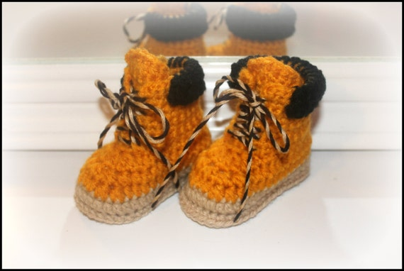 Crochet baby work boots construction worker by ...