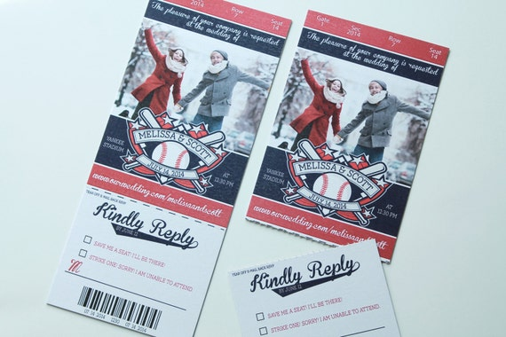 Baseball Wedding Invitation: Items Similar To Baseball Football Soccer Ticket Style