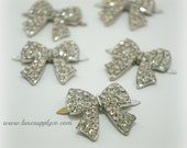 Gorgeous Rhinestone Bows -- 29mm x 30mm Metal Rhinestone Embellishments - YOUR CHOICE: Flat Back or Brads - You Choose the quantity - MR548