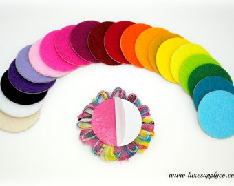 """1.5"""" Adhesive Felt Circles - Your Choice of Colors and Quantity - Sticky Felt Circles for Baby Headbands- PLEASE READ LISTING!"""