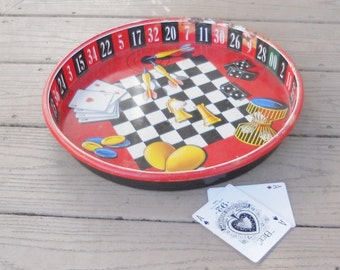Retro Game Board Tray Drink Carrier Tray Vintage Kitschy Home Decor, Industrial Game Room Poker Night with the Boys