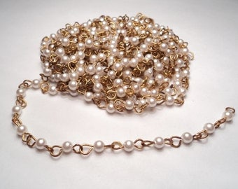 10 ft. - Vintage acrylic 4mm white pearl - link chain - m97